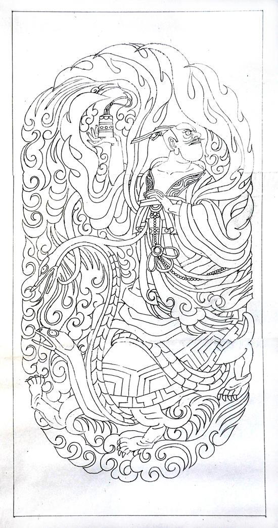 威海赤山风景区山门石阶浮雕设计:玄武(线稿)